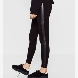 [ZARA] Contrasting Side Faux Leather Legging M